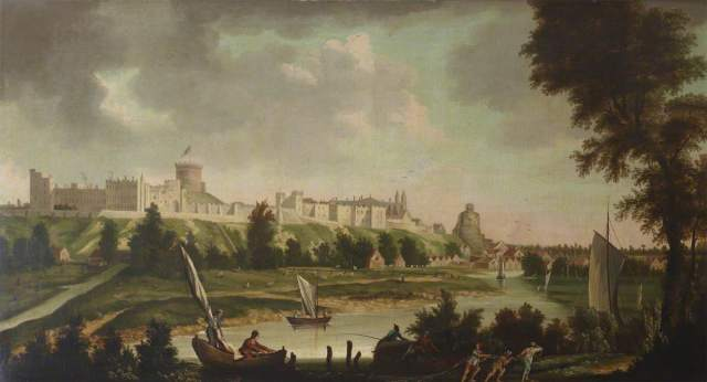View of Windsor Castle from the River Thames; British (English) School