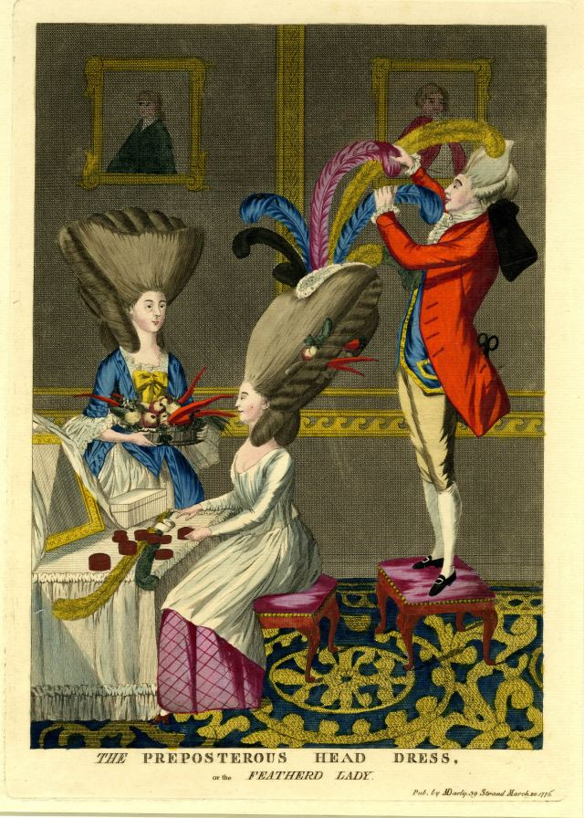 The preposterous head dress, or the featherd lady, 1776.
