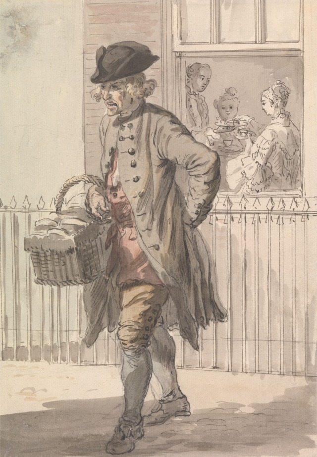 London Cries: A Muffin Man by Paul Sandby, c.1759.