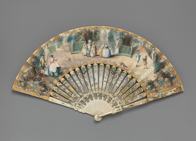Fan depicting the gardens of Chiswick Villa, 1757.