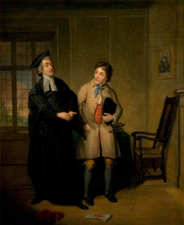 Mr Bannister Junior and Mr Parsons as Scout and Sheepface in 'The Village Lawyer' by Samuel de Wilde (Scout the lawyer on the left)