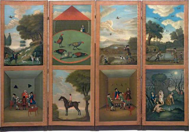 Screen depicting Hunting, Cock-Fighting, Card-Playing, Horse-Riding, Game-Shooting, Dice-Throwing, Fishing and Bathing by an unknown artist, 1746.