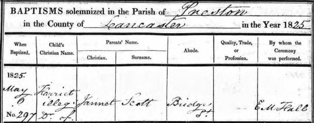 Baptism of Harriet Scott (illegitimate)