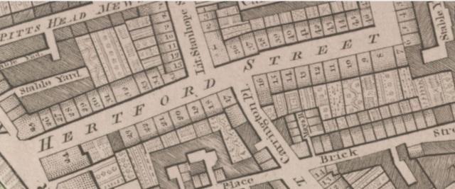 Horwood Map of London Hertford Street 1792